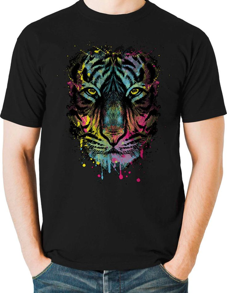 Melting Rainbow Neon Tiger T Shirt Colorful Animal Mens Small to 6XL & Big Tall #TShirtsRule #GraphicTee