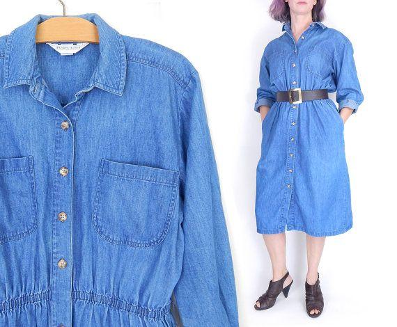 Sz 12 P Vintage 90s Denim Shirt Dress - Petite Women's Land's End USA Made Chambray Blue Preppy Normcore Button Up Midi Dress