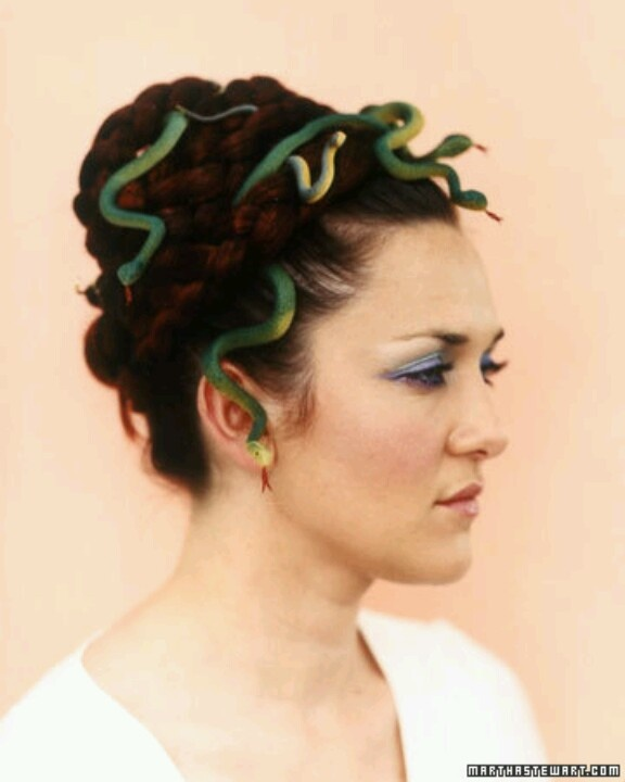 •❈• Halloween hair Medusa  Inspiration Only.  Style your hair any way you want to, try to put in a little volume to hide the bobby pins.  Smaller snakes work best, if you have mega thick hair you could do a big snake.  Just weave the snakes in and out of your hair, using bobby pins where ever you can to make it look real. Crazy hair