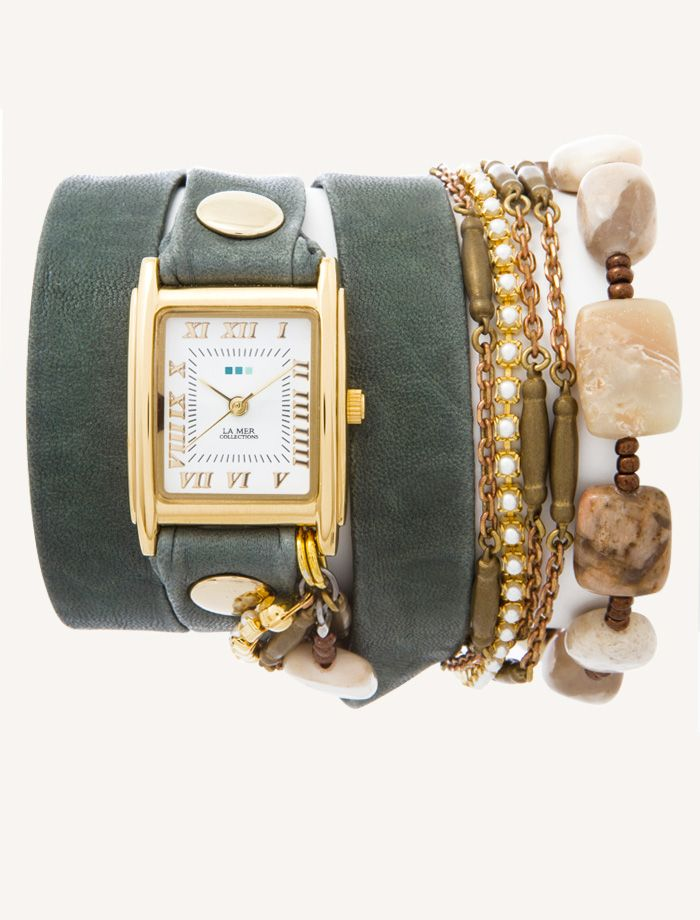 La Mer Watches: Sage Washed Jasper Stones Wrap Watch