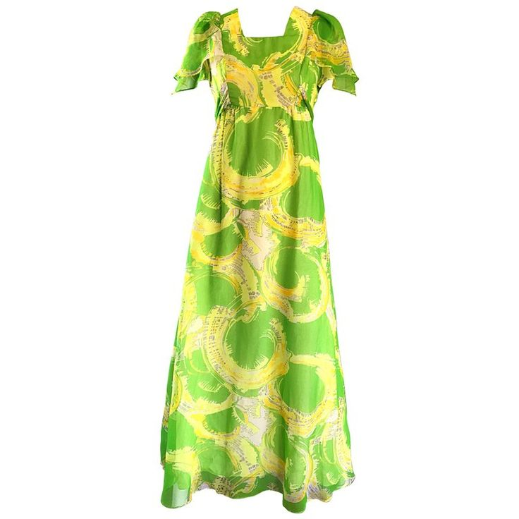 1970s Neon Lime Green   Yellow Paint Splatter Vintage 70s Chiffon Maxi Dress | From a collection of rare vintage maxi-dresses at https://www.1stdibs.com/fashion/clothing/day-dresses/maxi-dresses/