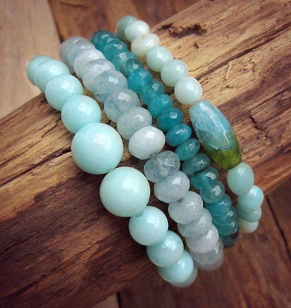Brazilian Aquamarine Bracelets  Bracelet Stack  Gemstone