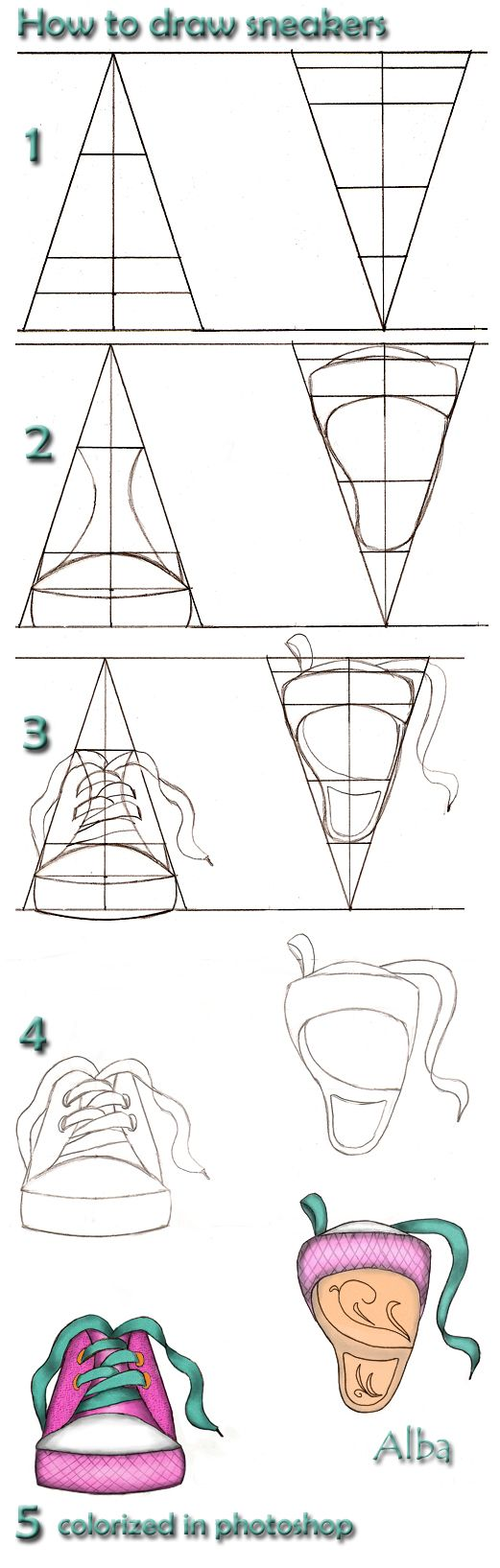how to draw snakers