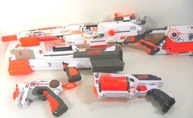 Nerf N-Strike Whiteout Long Strike CS-6 Deploy Maverick Pistol lot Rare Working  #NERF