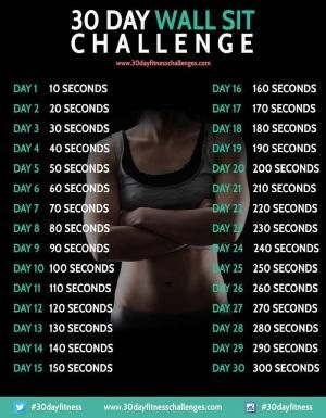 This 30 day wall sit workout challenge has been designed as a great way to tone up and strengthen your leg and core muscles, by doing a simple exercise once a day by HARVEST