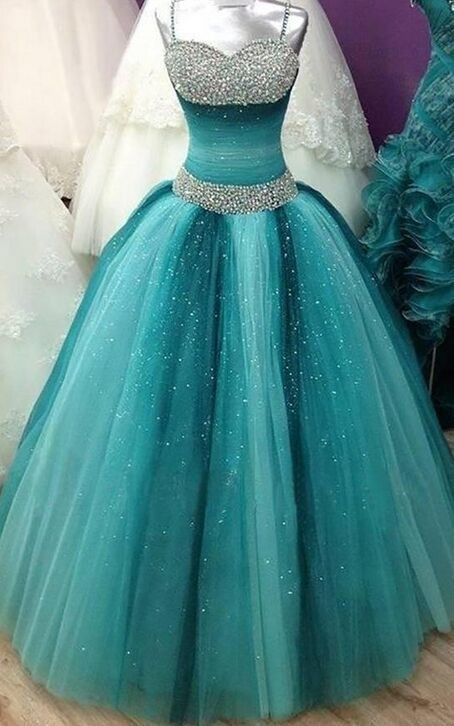 Turquoise and silver sparkly #Dress #Gown #PromDress #EveningDress