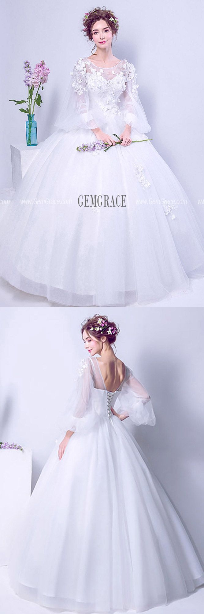 144 89 Puffy Sleeve Long White Floral Bridal Gown For 2019 Winter Wedding Wholesale T69450 Gemgrace Com Bridal Gowns Ball Gown Wedding Dress Bridal [ 2000 x 667 Pixel ]
