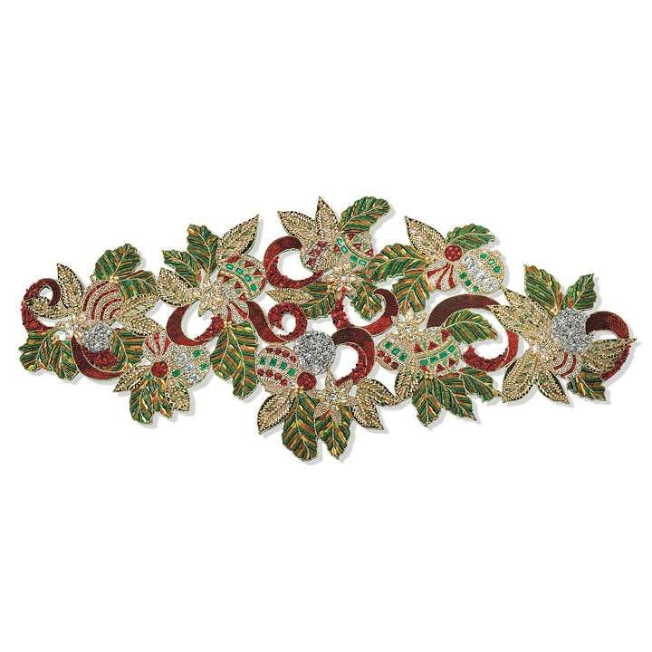 Deck the Halls Beaded Table Runner  Christmas  Table