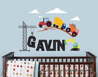 Construction Scene and Custom Name, Tractor, Truck, Crane Wall Decal for Baby Nursery or Childrens Room