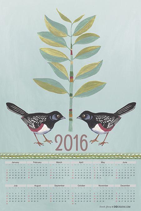 Bird Love Calendar 2016 tea towel design - Daniela Glassop • DGD Creative and available at  my Spoonflower store. http://www.spoonflower.com/designs/4739520