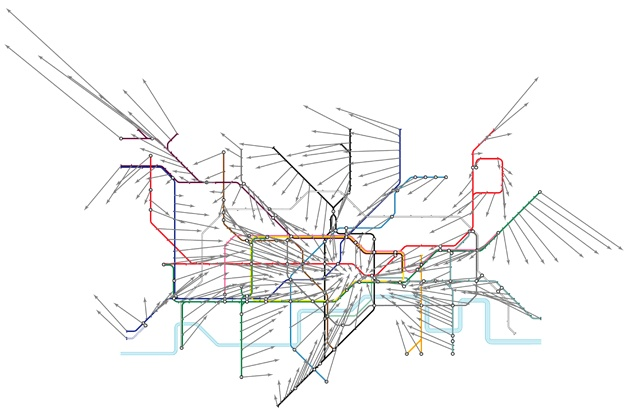 London tube displacement vectors map. Arrows point at the correct geographic location of each station.