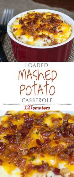 Loaded Mashed Potato Casserole | Packed with bacon, cream cheese, cheddar cheese and a ton of other yummy things, and the result is a flavor explosion that will make you wish your whole plate was full of potatoes!