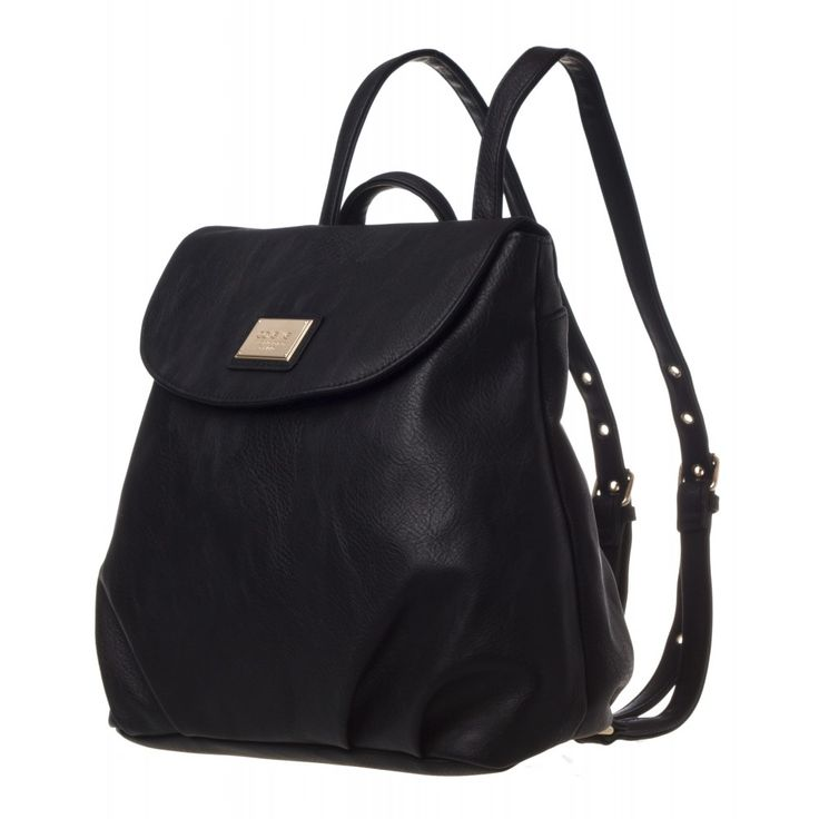 Argentina Backpack in black with gold name plate and trims from colette by colette hayman
