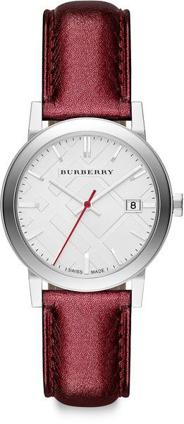 Burberry ~ Stainless Steel Metallic Leather Strap Watch - Burgundy