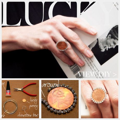 DIY Rhinestone Penny Ring - Penny Projects and Coin Crafts