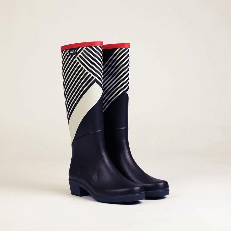 bottes caoutchouc marine/graphic miss juliette print femme - aigle 2