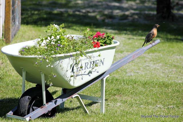 Garden Wheelbarrow, http://bec4-beyondthepicketfence.blogspot.com/2016/05/welcome-to-my-gardenstencil-paint.html
