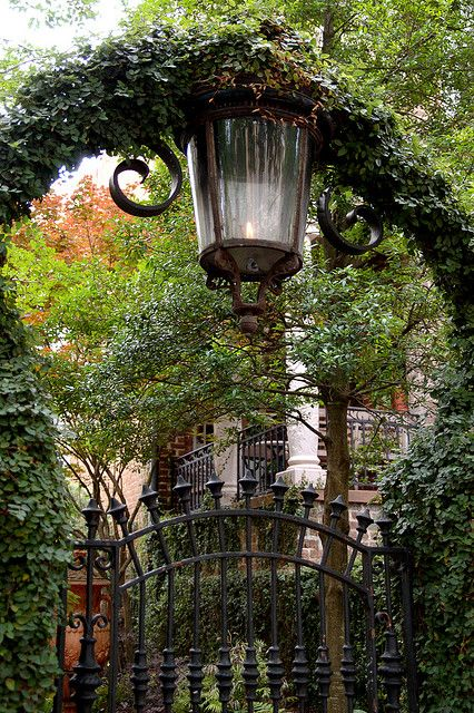 Flame Street Lamp and Garden Entrance    Savannah, Georgia.  Love the iron everywhere.  Someday....Savannah