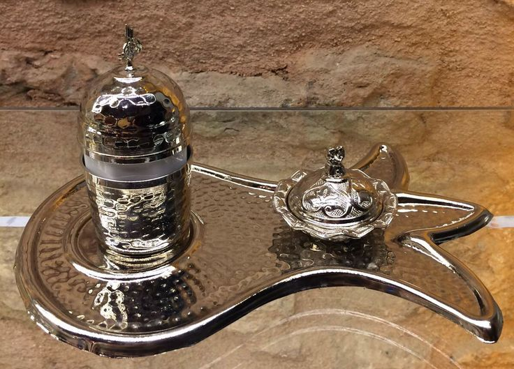 TURKISH COFFEE SET FOR ONE, COPPER, SILVER COLOR