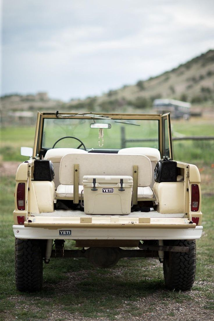 Ford Bronco   Vintage cream Bronco & a couple of cold ones and the road