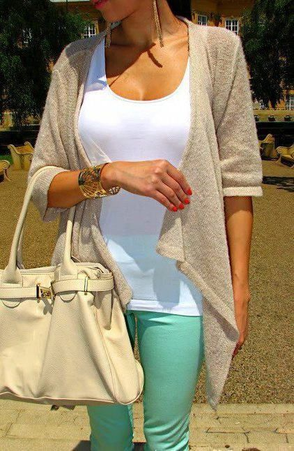 Adorable fashion Mint jeans, white tank top, and light tan sweater... to see more click on picture