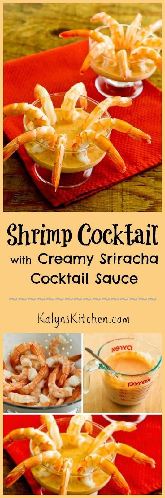 I love this Easy Shrimp Cocktail with Creamy Sriracha Cocktail Sauce; this is about as easy as it gets for a low-carb, gluten-free, and dairy-free holiday appetizer. If you like Sriracha, this is a must-try!  [KalynsKitchen.com]