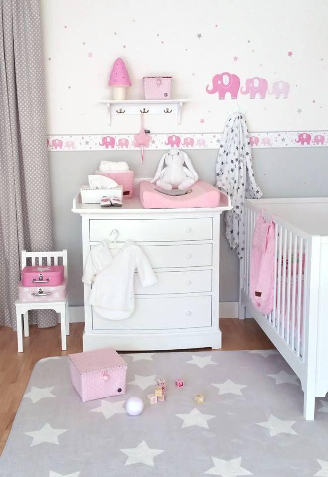 Pink elephant wallpaper, star area rug, kids room / Fantasyroom-Wohnträume für Kinder