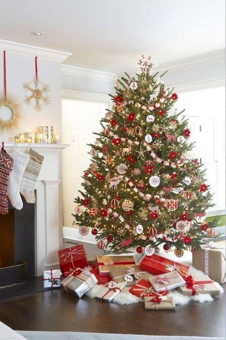 Incroyable Sapin De Noel Contemporain #9: Sapin De Noël Traditionnel Ou Moderne, Rouge Et Blanc En Mode Scandinave,  Bleu Ou