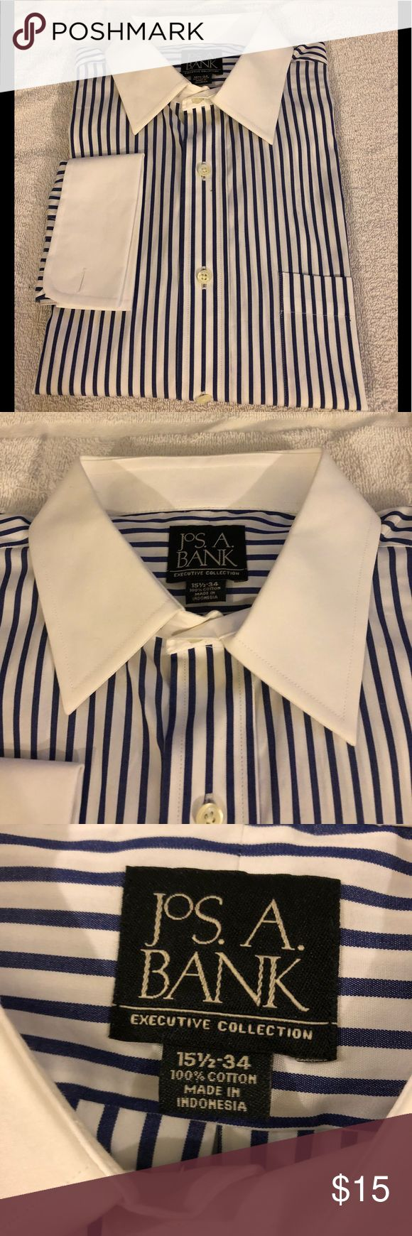 Jos A Bank White Stripe French Cuff Shirt 15.5-34 Jos A Bank White with Navy Blue Stripe White Collar French Cuff Dress Shirt size 15.5-34! Like new!  Please make reasonable offers and bundle! Ask questions :) Jos. A. Bank Shirts Dress Shirts