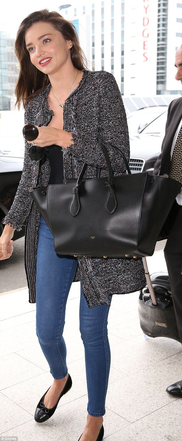 So long, Sydney! Miranda Kerr looked effortlessly chic as she was spotted at the airport on Monday and jetted off to Los Angeles