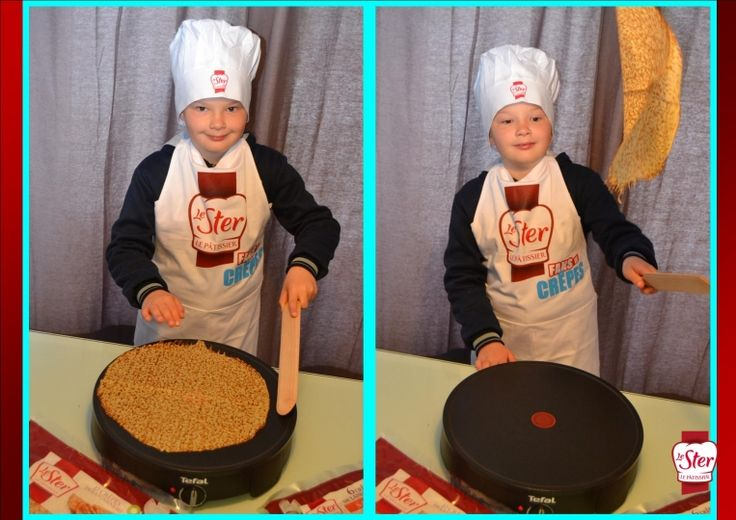 Les plus jeunes s'entraînent à faire sauter les crêpes Le Ster Le Pâtissier sur le crêpier fourni dans le kit !