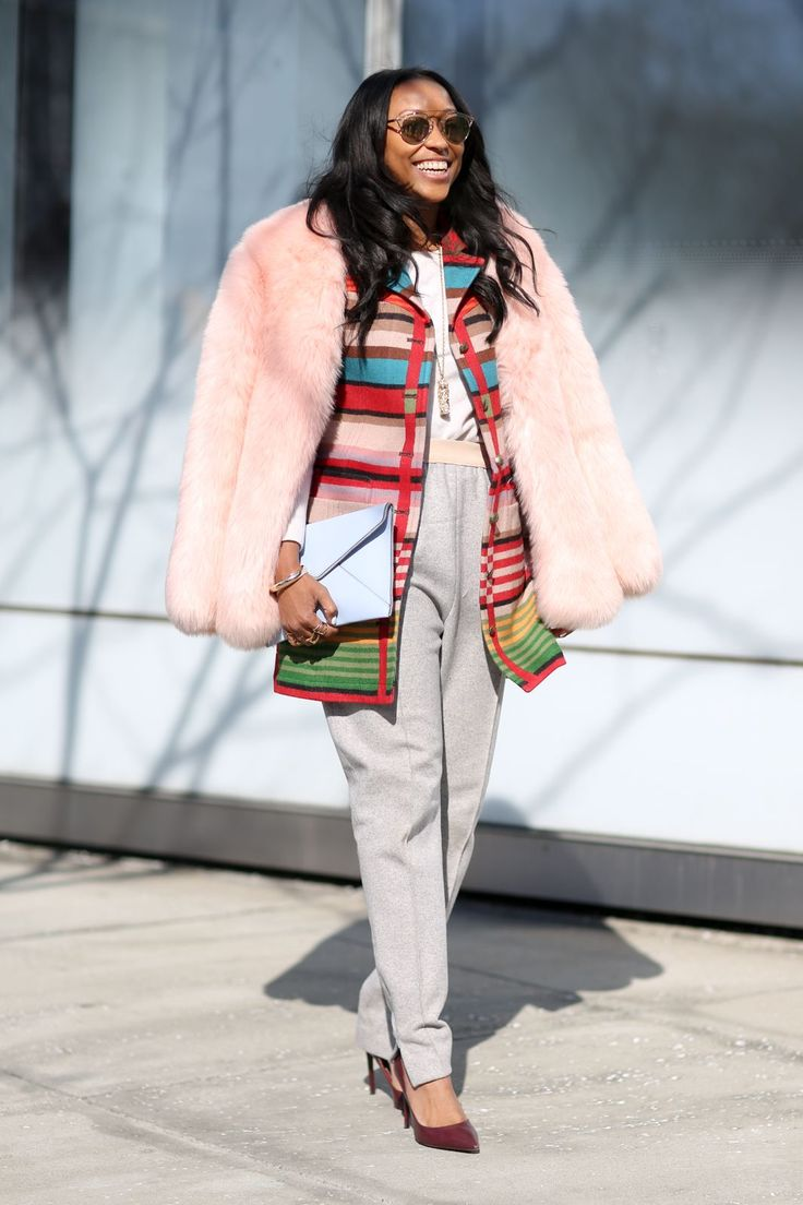 6 Reasons To Stop Wearing All Black Now #refinery29  http://www.refinery29.com/colorful-outfit-ideas#slide-1  Why opt for one colored coat when you can go for two? Pack the punch on top by choosing a bright coat to wear over a bold vest or jacket. Plus, playing with out-of-the-box outer layers gives you the chance to still don a pair of your loyal, neutral-toned pants....