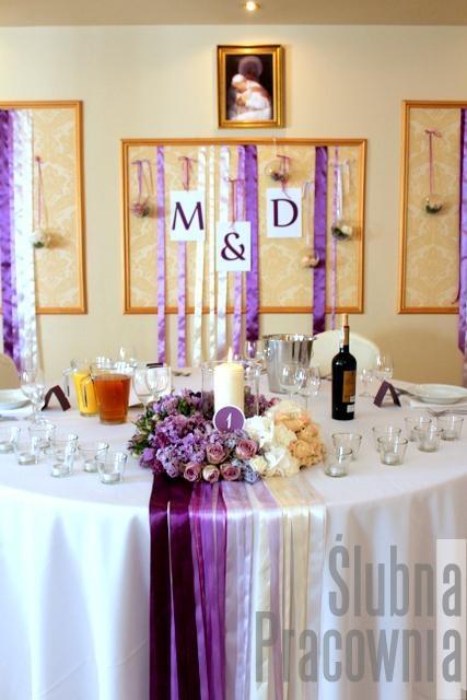 Ombre wedding dekoracja stołu Młodej Pary