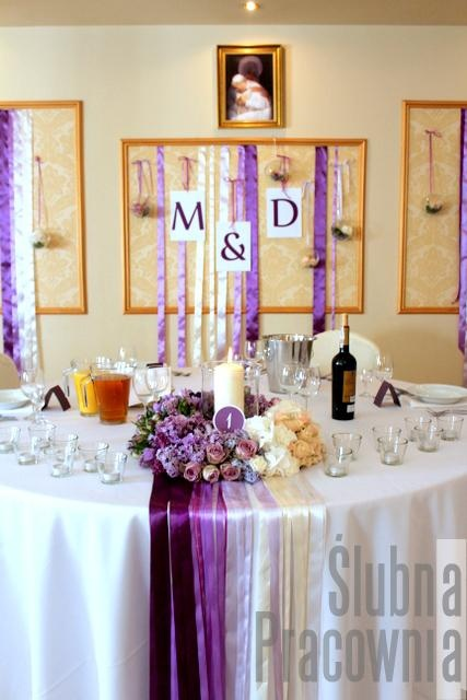 dekoracja stołu młodej pary ombre