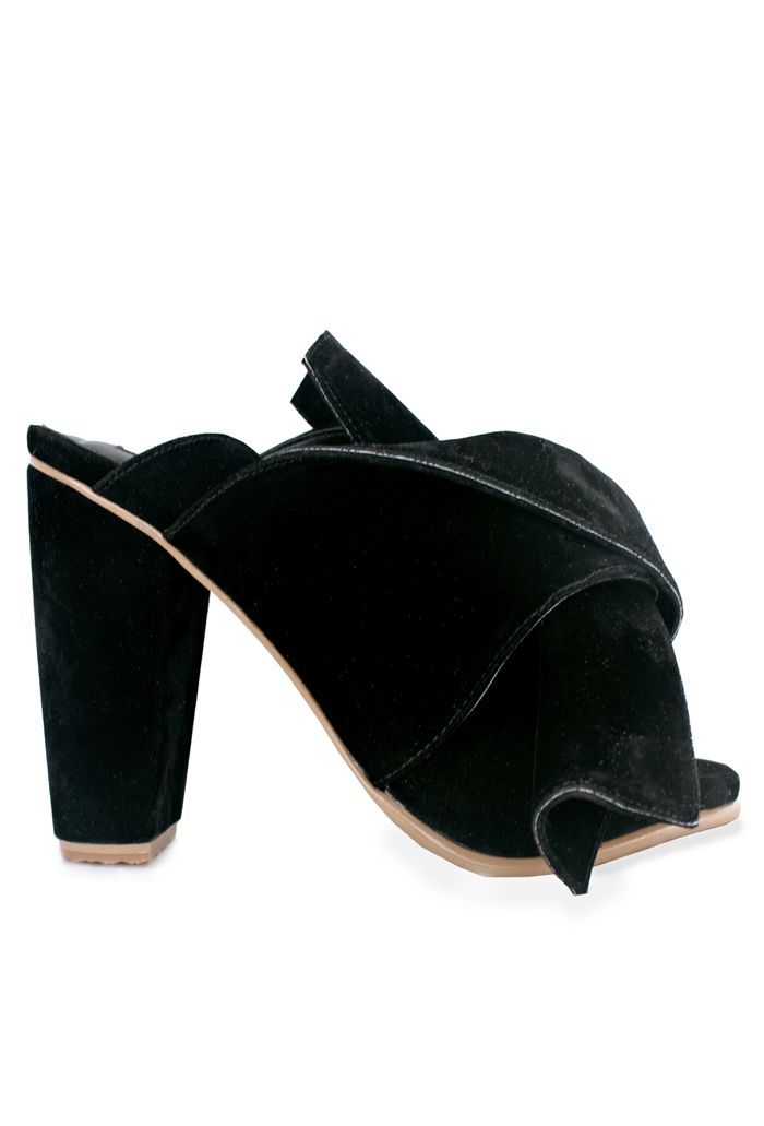black suede bow mules #vegan #shoes