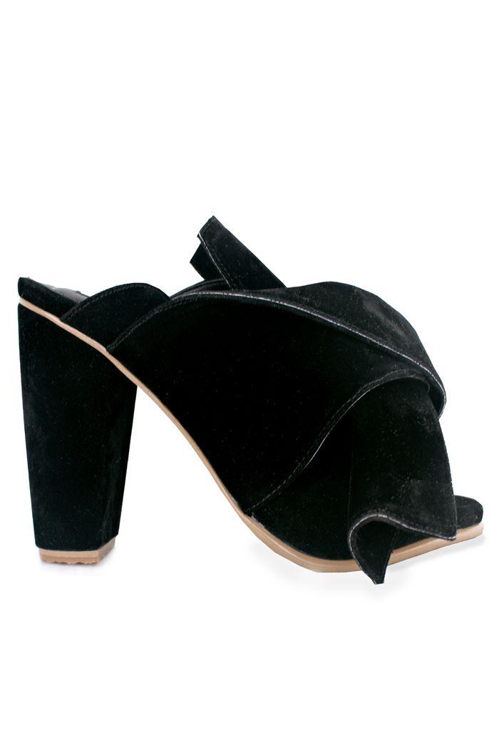 black suede bow mules #vegan #shoes