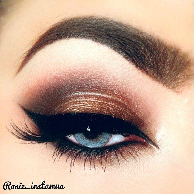 Copper smokey eye with cat eye winged liner #eyes #eye #makeup #eyeshadow #smokey #bold #dramatic