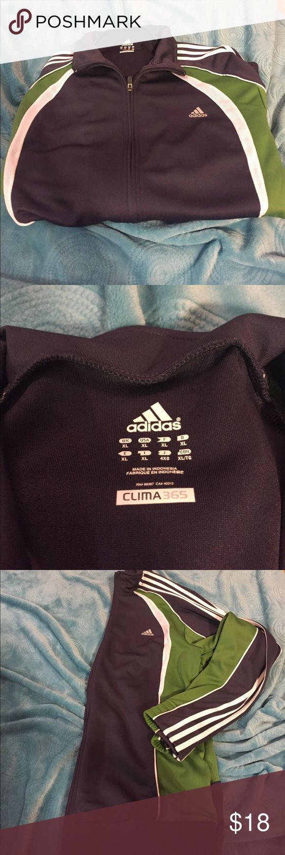 Adidas zip up jacket Men's zip up.       Only worn once!   Great condition.   100% polyester.     Size XL.  Climalite adidas Jackets & Coats Lightweight & Shirt Jackets