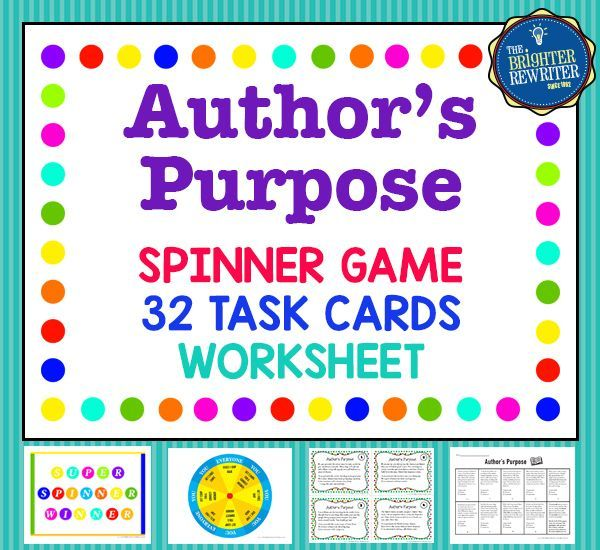 author 39 s purpose task cards and game worksheets language arts and authors purpose. Black Bedroom Furniture Sets. Home Design Ideas