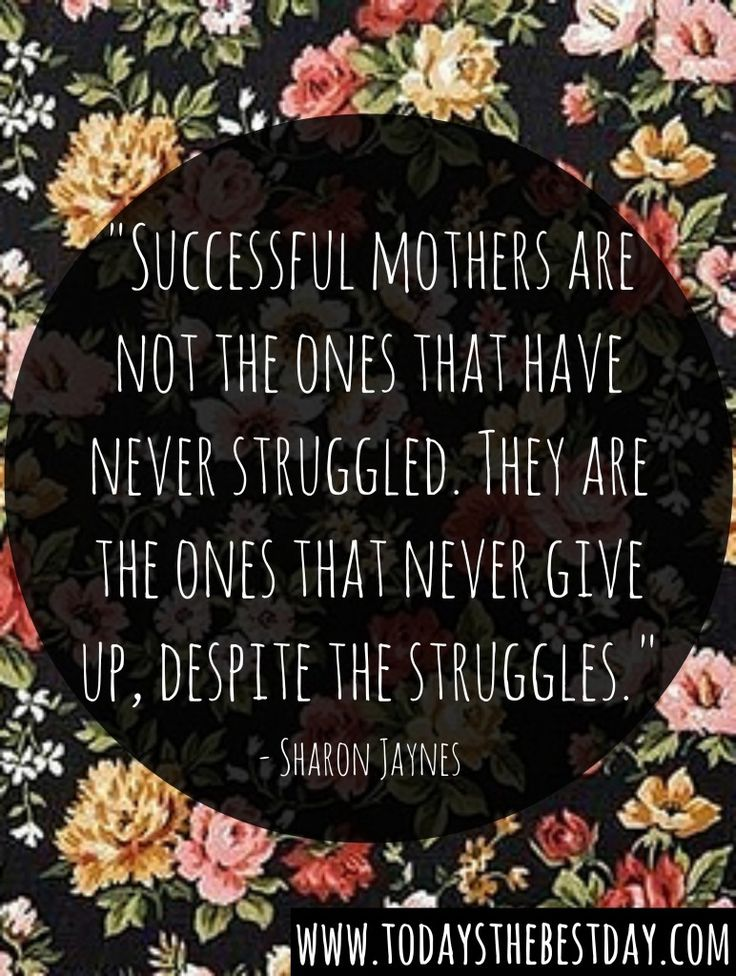 Successful mothers are not the ones that have never struggled. They are the ones that never give up, despite the struggles. - 10 Habits Of A Successful Mom