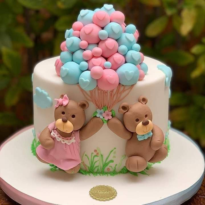 Cake Decorating Ideas Teddy Bear Cake For Gender Reveal Party