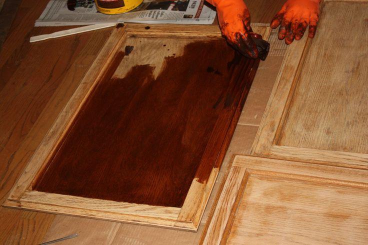 Restaining Kitchen Cabinets Darker Sanding, Staining