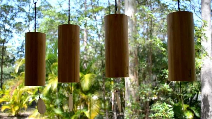 Koshi wind chimes - Air, Fire, Earth and Water. In this video all four tunings are sounding together in a fairly strong breeze. If they are hung seperately you can clearly hear the distinctive range of all harmonic notes from within each of the four koshi chime tunings.