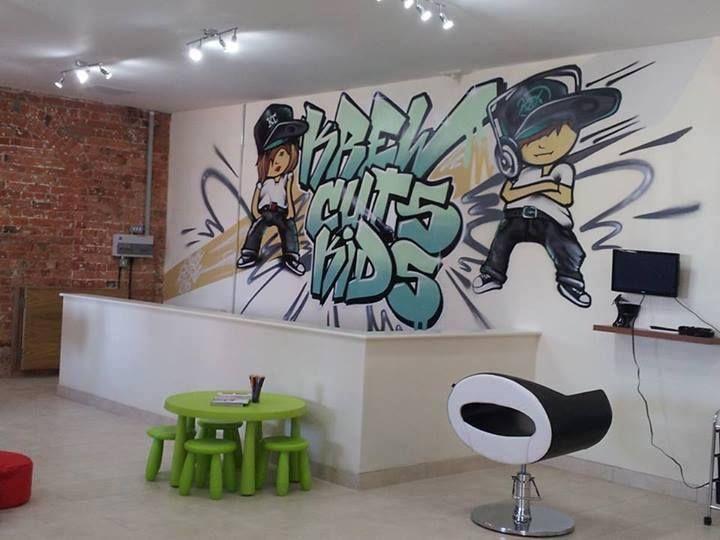 Client Krew Cuts Kids Hairdressers Graffiti Design Store Interiors