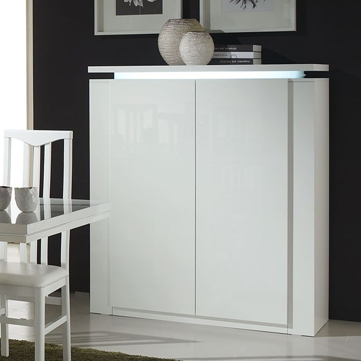 buffet haut lumineux blanc laqu design florence buffet haut moderne design contemporain. Black Bedroom Furniture Sets. Home Design Ideas