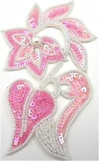 """Flower with Pink Sequins Beads and Pearl 5.5"""" x 3.5"""""""