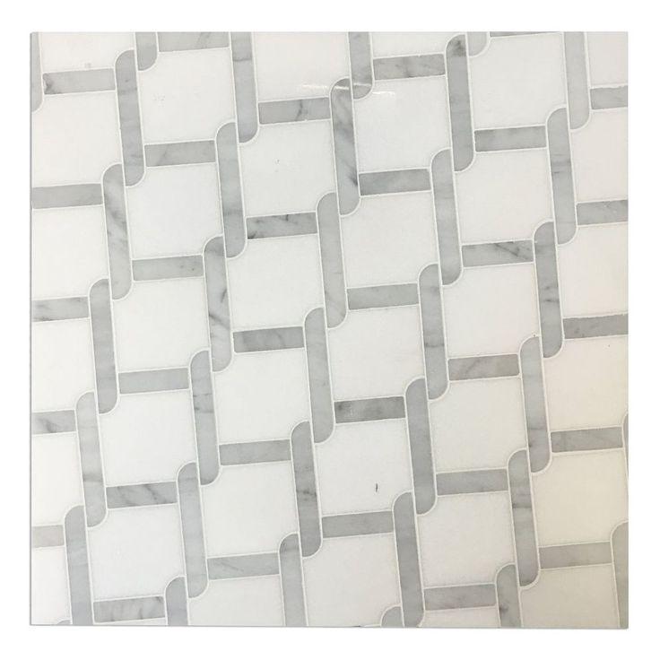 Sample Carrara White Marble Mint Glass Random Linear: 7 Best Home Improvment DIY Bathroom & Kitchen Backsplash