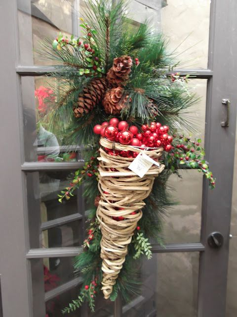 yard gleanings door swag w/a fabulous willow cornucopia filled w/ornaments