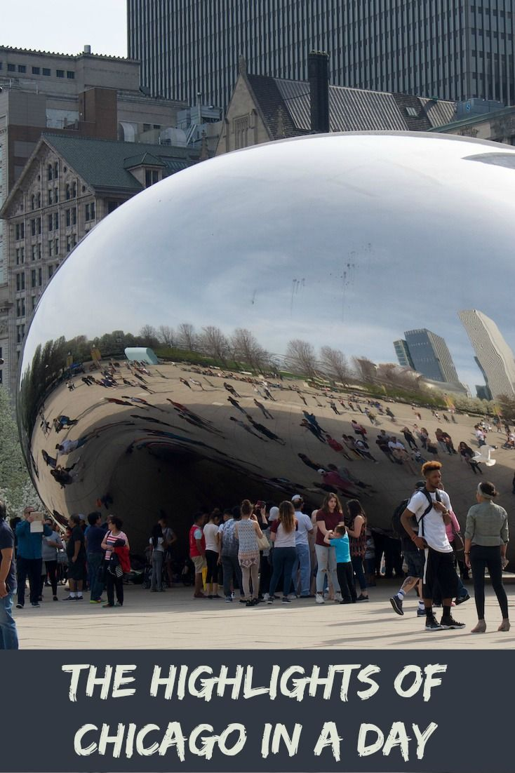 The Bean Sculpture in Chicago is one of five must see destinations if you are trying to see the city of Chicago in a day.