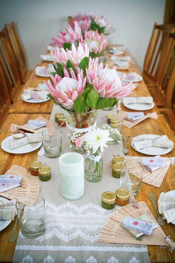 Vintage High Tea Bridal Shower by Megan van Zyl | SouthBound Bride = love the proteas, little jam pots & fans
